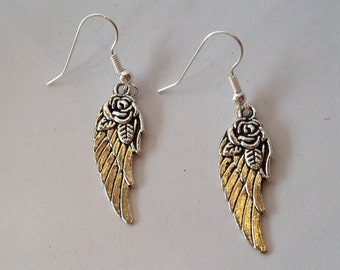 Wing earrings with roses, silver