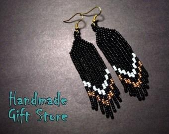 Beaded earrings Long beaded earrings Seed bead earrings Black Gold White