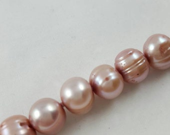 Vintage 36 inch 7-8mm circle pink freshwater pearl necklace  DD025
