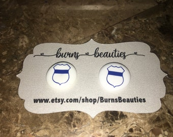 Police earrings - back the blue - blue lives matter - thin blue line - police jewelry