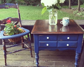 SOLD- Napoleonic Blue Patio Furniture Side Table