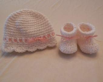 Crochet Baby Booties and Hat, Girls Baby Booties and Hat, Girls Crochet Booties, Baby Gift, Baby Shower Gift, White and Pink