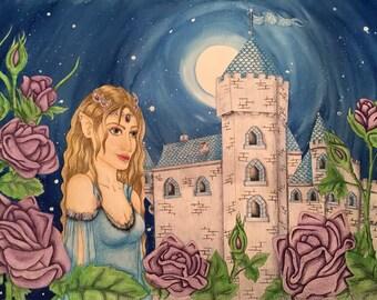 fantasy painting: moonlight castle