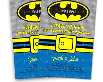 Batman Superhero Baby Shower Invitations & Blank Digital Thank You Card to match