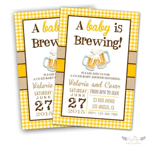 Baby Brewing Invitations & Blank Digital Thank You Card to match