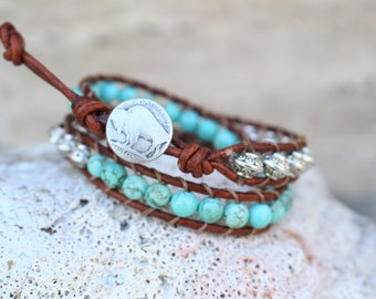 Wrap Bracelet Double Wrap Silver and Turquoise