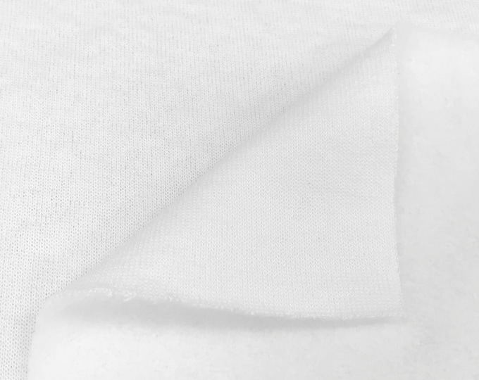 Poly Cotton Terry Knit Fabric (Wholesale Price Available By the Bolt) USA Made Premium Quality - 5735PR White - 1 Yard