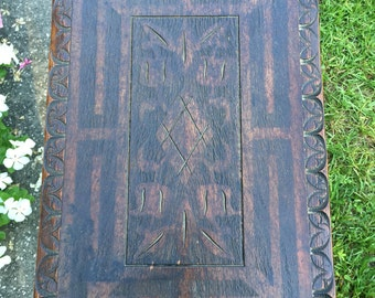 Antique hand made swiveling flip top coffee/game table