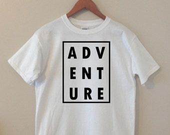 Adventure Graphic Tee T-Shirt Handmade Handprinted