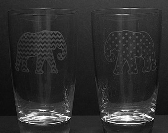 Pair of Etched Elephant Pint Glasses