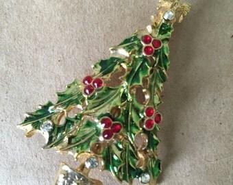 Vintage Costume Jewelry Christmas Tree Pin. Christmas Tree Brooch 1970s