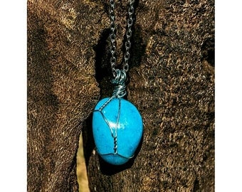 Blue Aragonite Wrapped Necklace