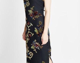 90's Floral Velvet Maxi Dress