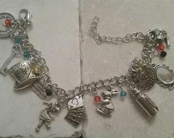 Alice in Wonderland Inspired Charm Inspired Bracelet