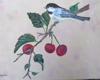 Sparrow on cherry branch