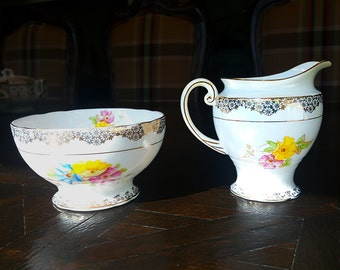 Rare Vintage Phillips's / Lawley's of Regent Street Creamer and Sugar Bowl, Pattern No. 9694, c1930s