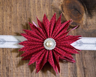 Maroon Flower Newborn Headband.