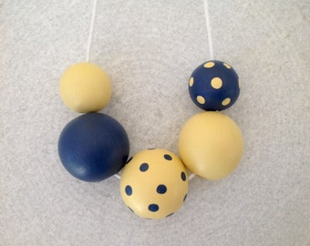 Hand painted Wood Bead Necklace - yellow - navy