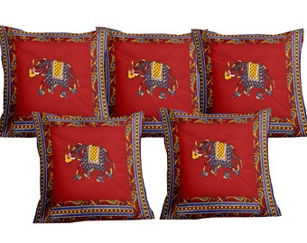 Handmade patch work cushion case cover embroidered design set of 5 size 16X16 Inchs