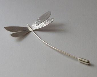 Dragonfly Brooch:  Handmade, Sterling Silver