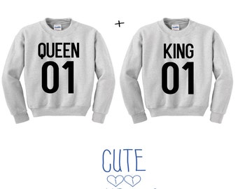 Queen and King letter couple sweater hoodie friends