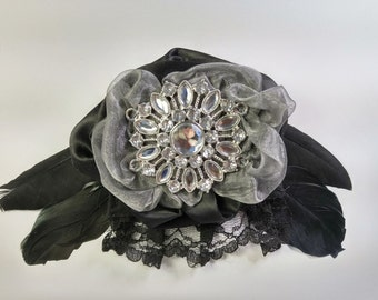 Eclectic jeweled and feathered flower barrette