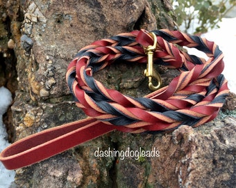 4' Braided Leather Leash, Burgundy/[choose color]