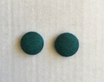 15mm Fabric Studs • Green/Black • Surgical Steel • Button earrings • Button studs • Fabric Stud Earrings