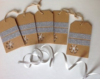 Set of 5 Heavyweight Snowflake Punched Gift Tags