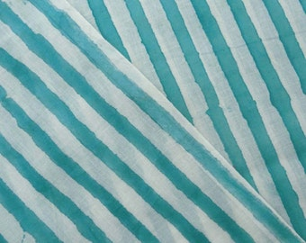 10 Yard Hand Block Printed Stripe Print Pure Cotton Fabric, Handmade Light Weight Cotton Fabric, Shirt Fabric, Cloth Making Sewing Fabric