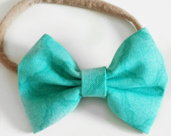 Single blue baby bow headband, baby bow