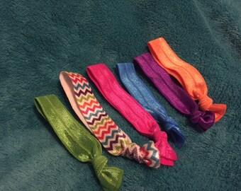 set of six ribbon elastic ponytail holders