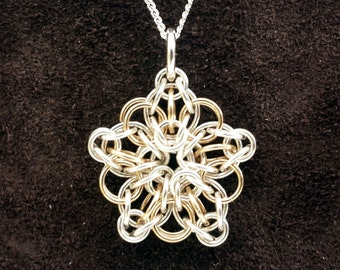 Tiny Celtic Star Chainmail Pendant - Sterling Silver & 14kt Gold Fill