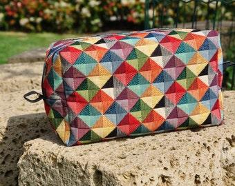 Gianna-gobelin, handmade leather clutch bag, textured pattern