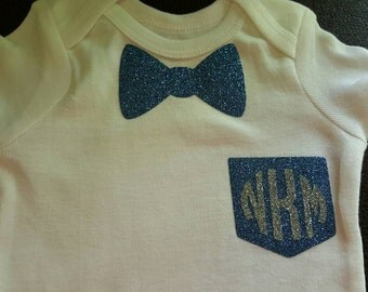 Adorable bow tie and pocket initial onesie
