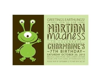 Kids Birthday MARTIAN Invitation PRINTABLE