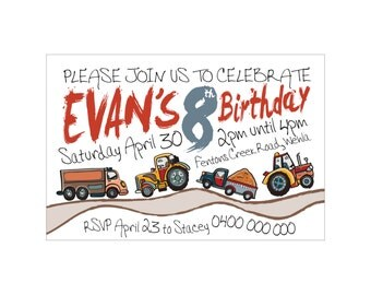 Kids Birthday Printed TRUCKS & TRACTORS Invitations + Envelopes. Great Quality! Matching party bags available.