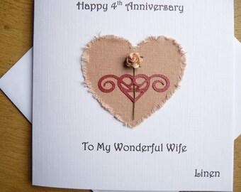 4th wedding anniversary linen four years wife anniversary gift
