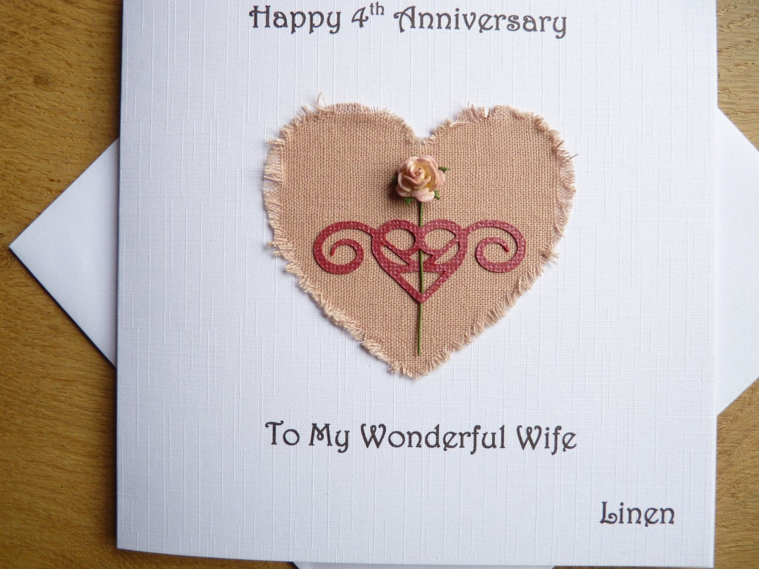 Fourth Year Wedding Anniversary Traditional Gift: 4th Wedding Anniversary Linen Four Years Wife Anniversary Gift