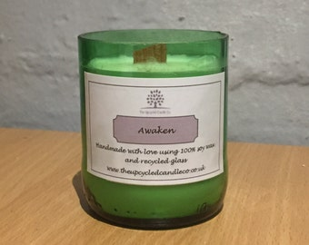 Recycled Beer Bottle Candle with Awaken Scent