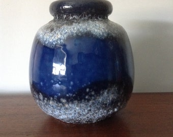 West German Fat lava Vase Blue