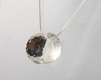 Silver split circle pendant