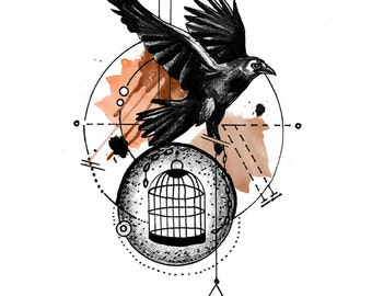 Crow with Cage - Tattoo Design