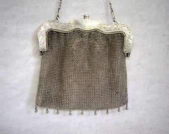 1920's sterling silver mesh purse