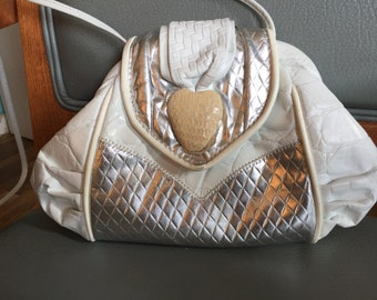 Vintage white leather with metallic trim Gregory purse