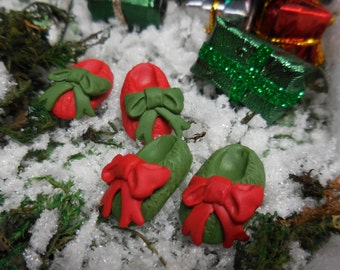 Christmas Fairy Slipper, Red or Green, Miniature Fairy Shoe w Large Bow, Fairy Accessory for Fairy Garden, Terrarium, and Holiday Miniatures