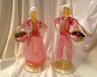 Vintage Pair of Tall MURANO Glass Figurines -- Romantic Couple 'Fruit Pickers' with Harvest Baskets