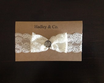 Lace Headband with bow and gem center