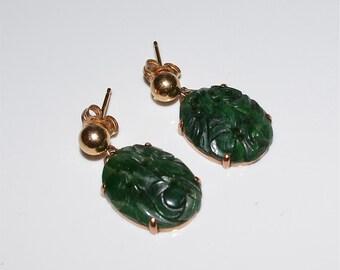 Jadeite Jade 14 Kt Gold Post Earrings Deep Natural Green Color