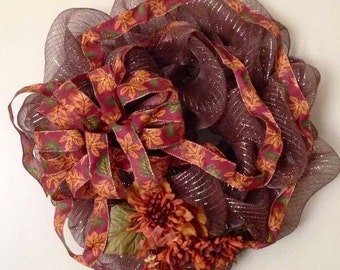 Fall Mesh Wreath/Fall Floral Mesh Wreath/Fall Door Decor/Floral and Ribbon Mesh Wreath